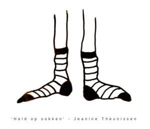 """Masseer je voeten met een tennisbal, gezondheid-workshops.nl. """"Held op sokken' Tekening Jeanine Theunissen"""