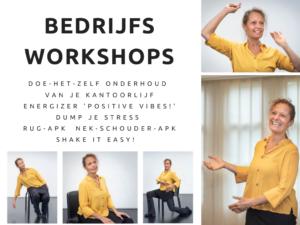 Gezonde workshop, beweegworkshop, fit op je werk, lekker in je vel, gezond op kantoor, Fit op de werkvloer, vitaliteite, Werk-privé balans, Jeanine Theunissen, energizer, rugpijn, nekpijn, schouderpijn, stress, werkstress, burnout symtomen, burn out klachten, vermoeidheid, moe, gezond thuiswerken, pijnklachten, Ogen-EHBO, Stress-EHBO, actieve workshop, interactieve workshop, bewegen op muziek, ontspannen, somberheid, vrolijk